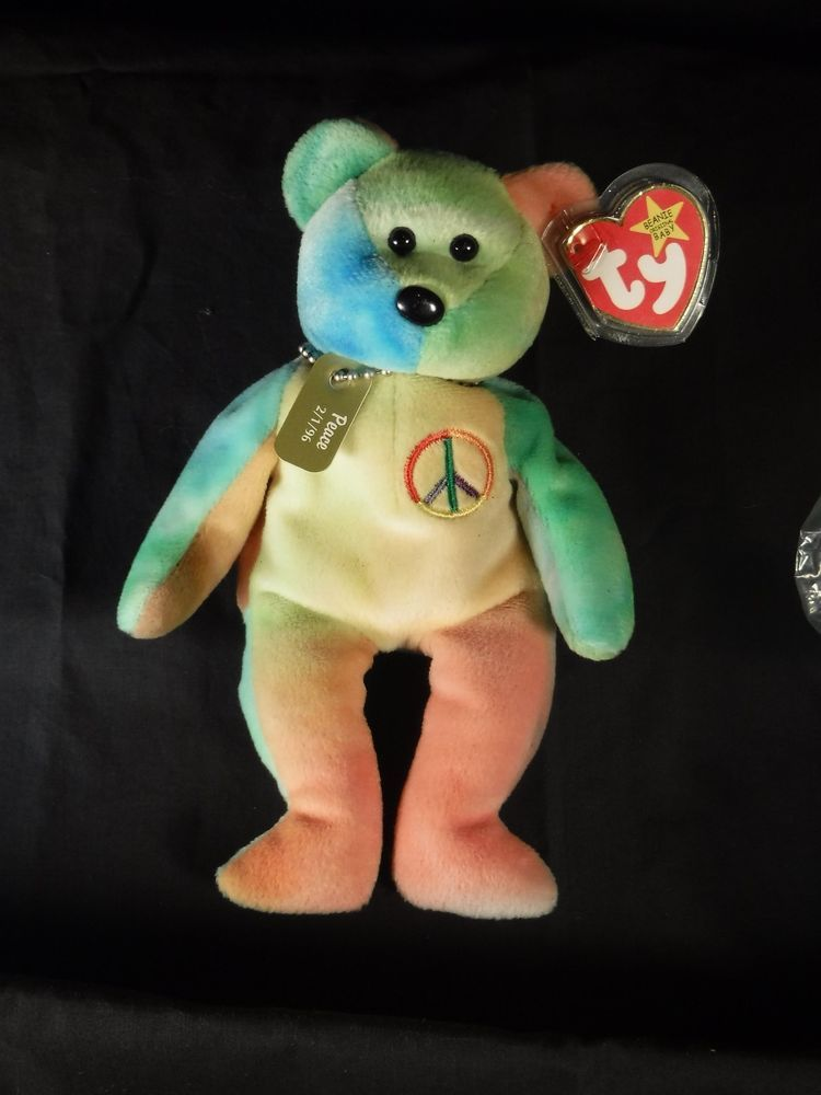 72d712750f3 Rare 1996 Ty Beanie Baby Original Peace Bear Collectible W  Dog tag   Tag  Errors  Ty