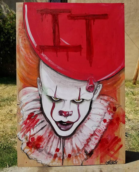 Pennywise painting 2ftx3ft on wood panel itmovie check for Clown pumpkin painting