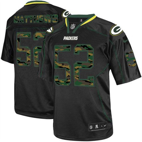 Mens Black Nike Elite Green Bay Packers #52 Clay Matthews Camo Fashion NFL Jersey$129.99