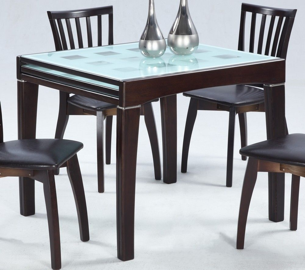 Modern Extendable Frosted Glass Dining Table Modern