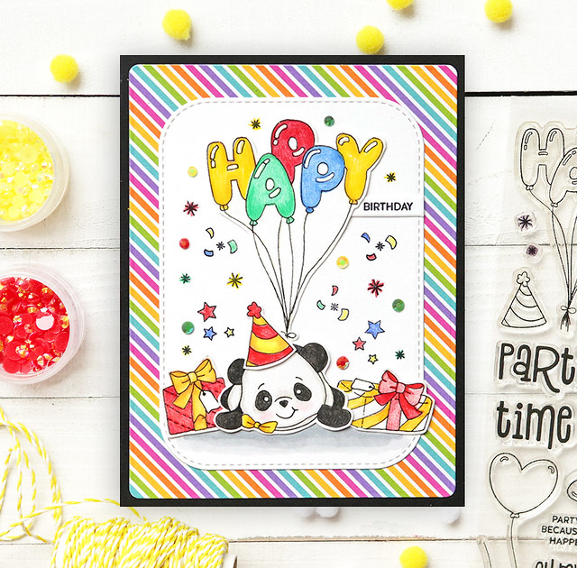 One Stamp, Five Ways - SSS August 2019 Card Kit Party Like A Panda #cardkit