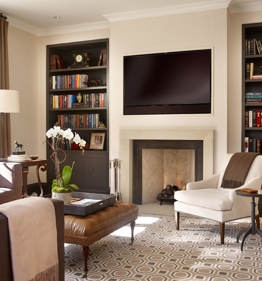 Family Room Design With Tv: Recessed TV Above Fireplace And Bookshelves To Those In