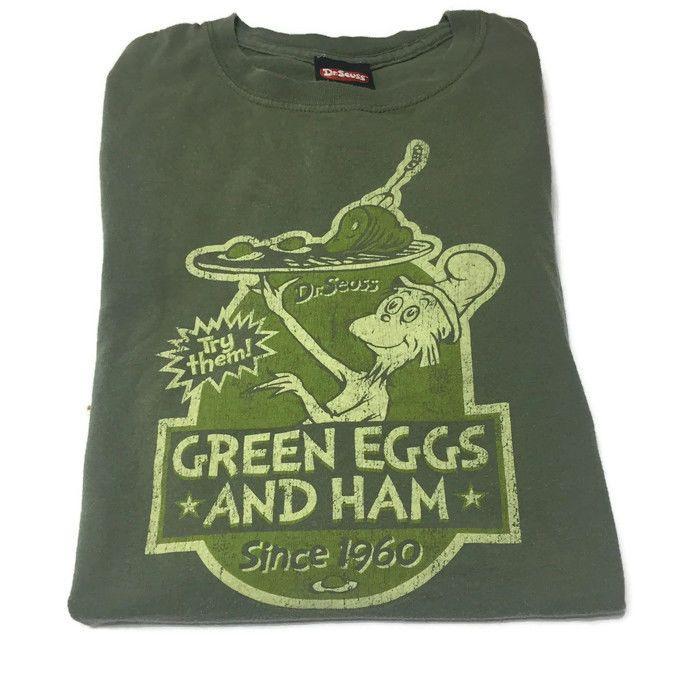 Dr Suess Green Eggs And Ham Since 1960 Books T-Shirt Size 2XL Green Short Sleeve #DrSuess #ShortSleeve