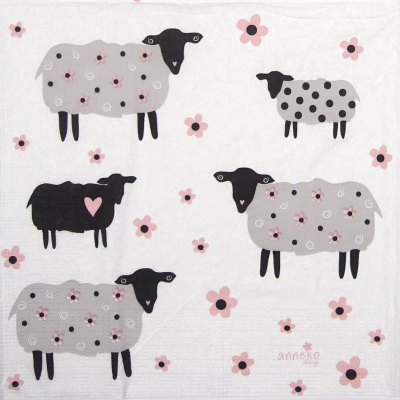 Paper Napkin - Anneko Design: Flower Sheeps | Napkin Shop #papernapkins