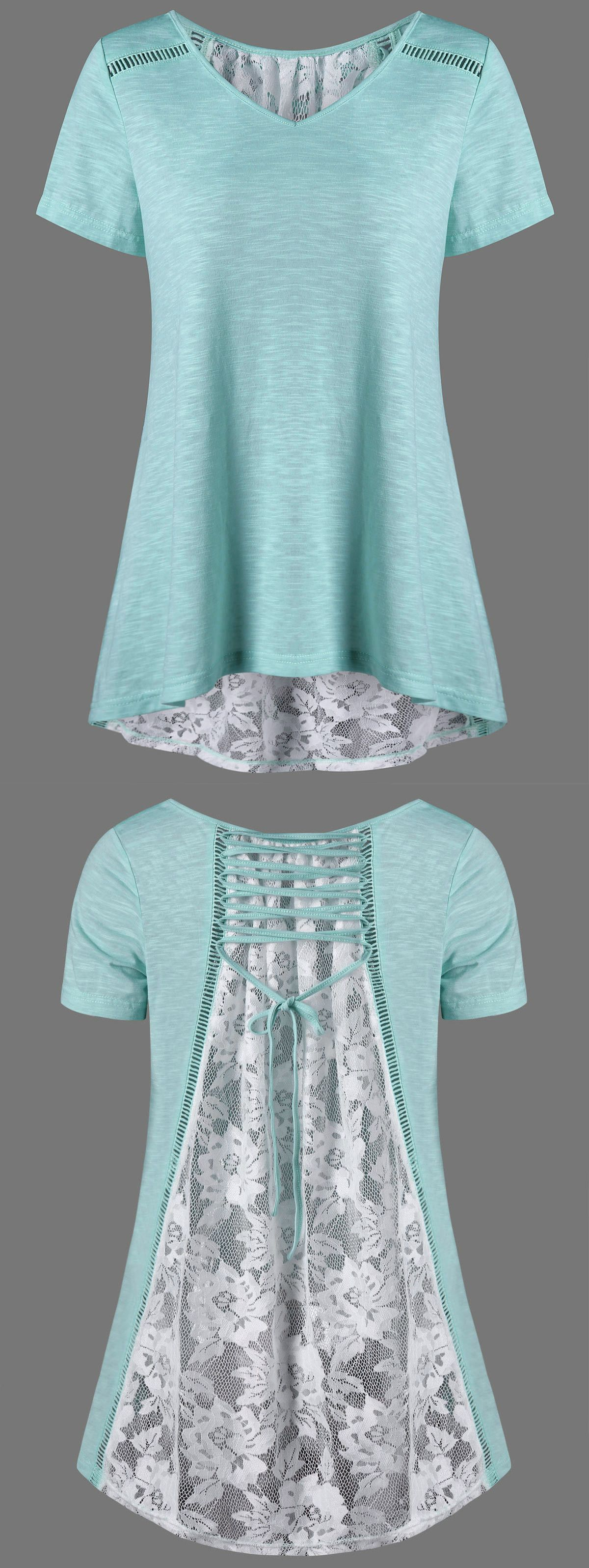 $14.19 Floral High Low Hem Lace Up T-Shirt - White And Green | bluz ...