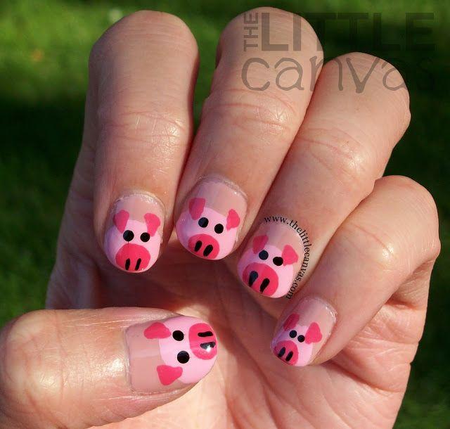 Explore Pig Nail Art, Pig Nails and more! - The Little Canvas Pig #nail #nails #nailart ANIMALS THEMED NAILS