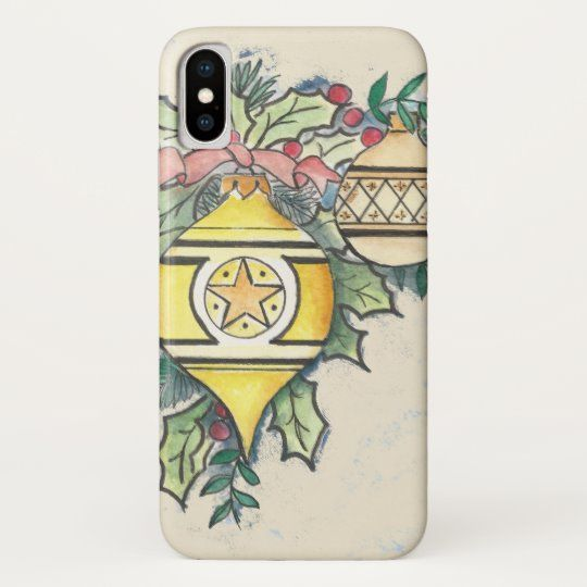 Evergreen and Gold design on an iPhone Case #watercolor #ink #evergreen #holly #ribbons #bulbs #holiday #Christmas #phonecase #tech #zazzle #anniespalette
