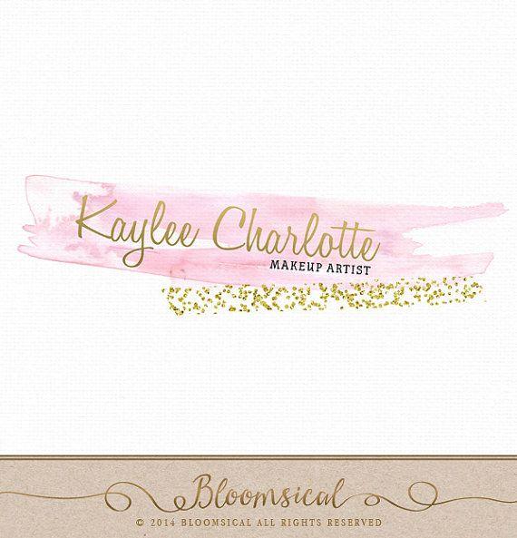 DIY Logo Design Watercolor Brush Stroke gold glitter Instant
