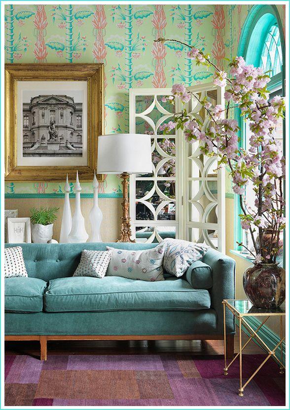 Heidi pribell interior design turquoise mid century sofa