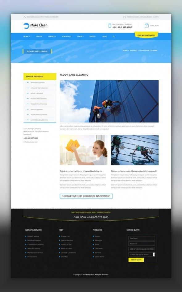 Make Clean Cleaning Company Wordpress Theme Cms Blog Templates
