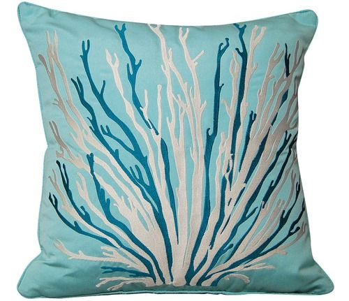 Absolutely beautifully embroidered large coral branch image in silver and aqua blue on a Glacier Blue Sunbrella, this gorgeous coastal pillow will need to find a way home to your beach house!