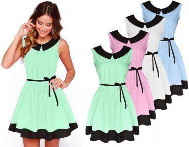 Sukienka Plisowana Kolnierzyk Szyfon Zwiewna M749 6185624906 Oficjalne Archiwum Allegro Summer Dresses Dresses Fashion