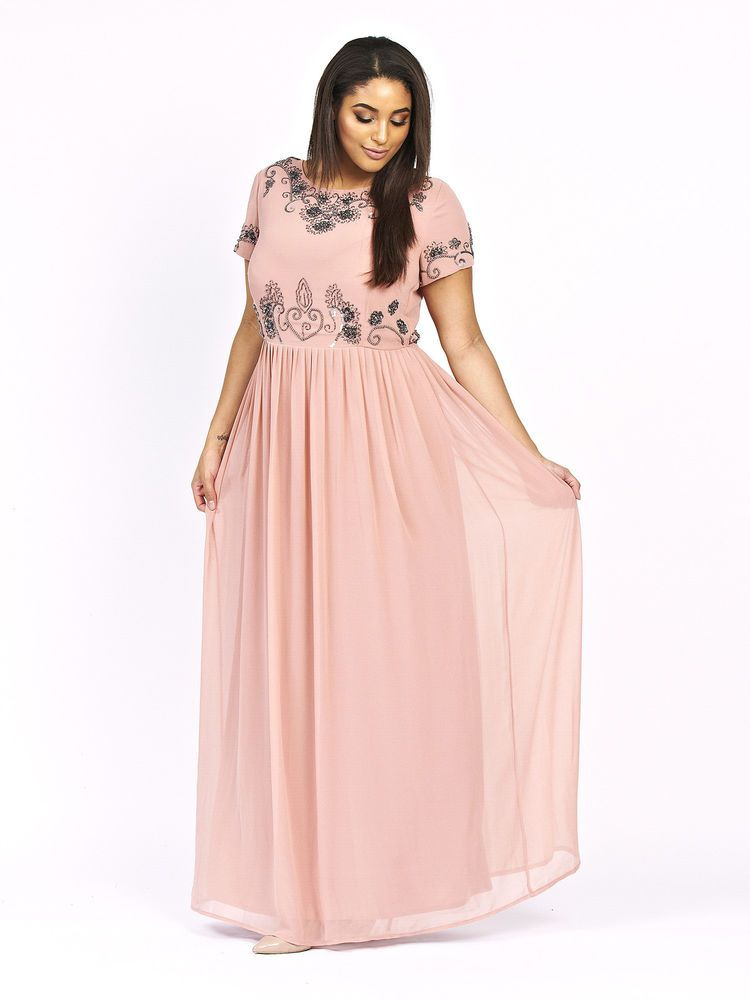 92d39df0daa Lovedrobe Luxe Womens Plus Size Short Sleeve Floral Embellished Maxi Dress  Peach