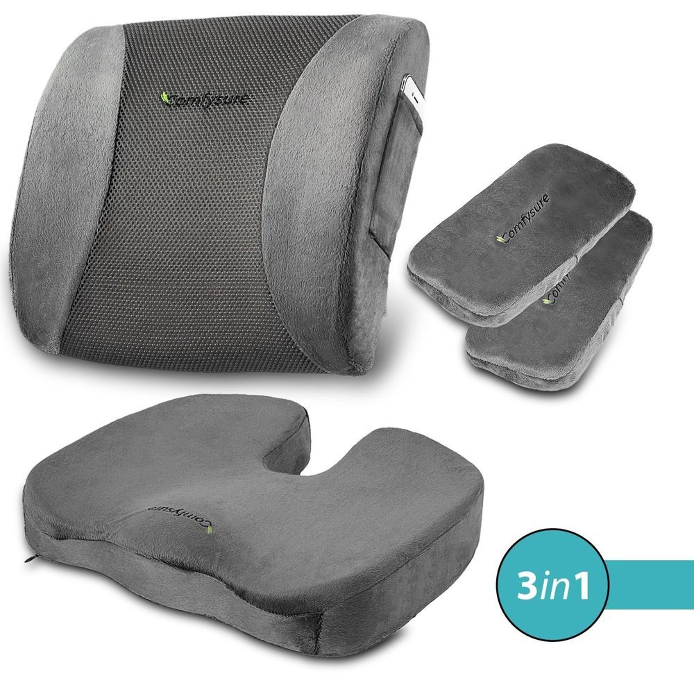 Set 3 Seat Cushion Back Lumbar Support 2 Padded Armrest For Office