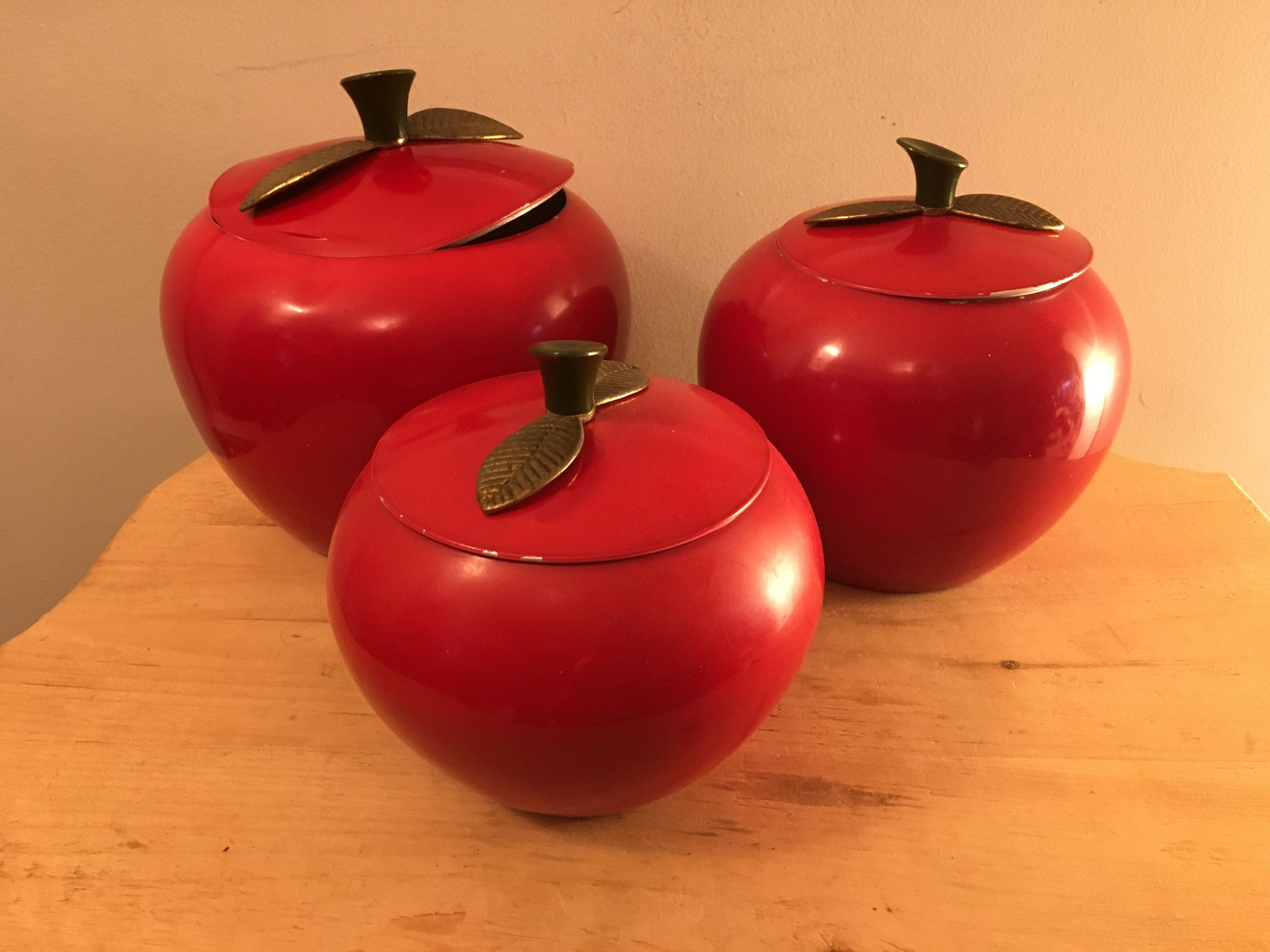 Apple Canisters Mid Century Metal Apple Canisters Set Of Etsy Cottage Style Kitchen Mid Century Kitchen Styling
