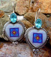 Opal, Sugilite, Turq, Orvil Jack & Blue Topaz Heart Earrings