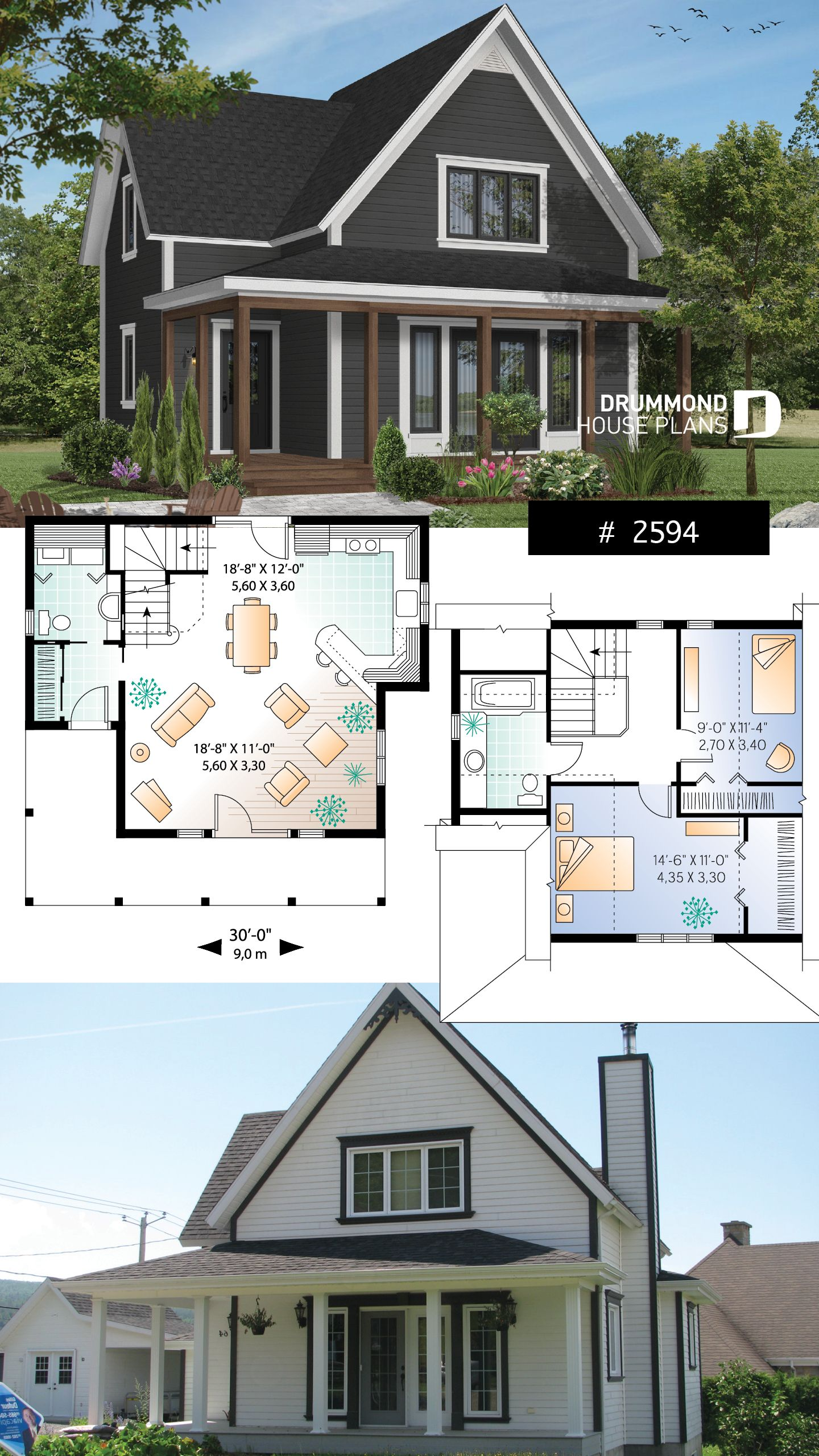 Discover The Plan 2594 Baldwin Which Will Please You For Its 2 Bedrooms And For Its Country Styles Sims House Plans Drummond House Plans Craftsman House Plans