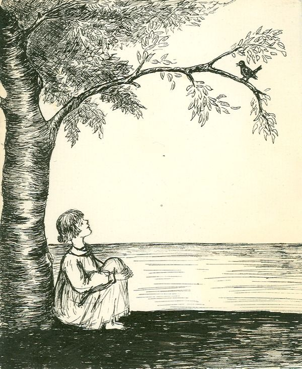 Drawing Of Girl Sitting Under Tree Looking At Bird