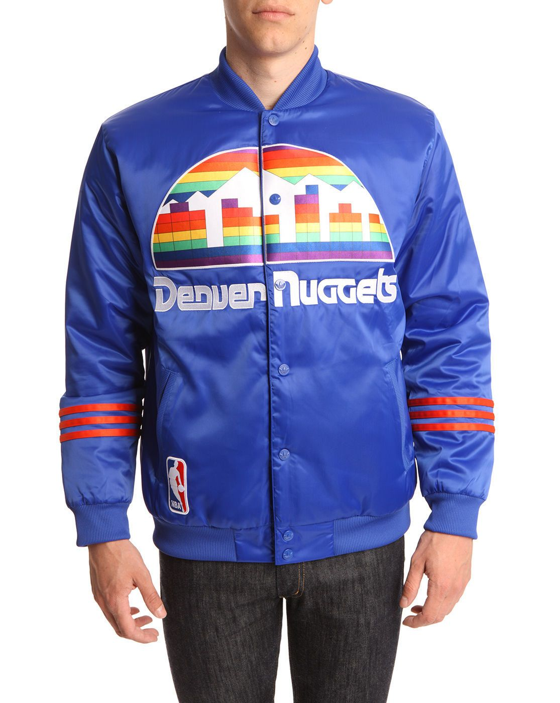 Denver Nuggets Blue Varsity Jacket Adidas Men Outlet Blue Men Jackets Varsity Jacket Mens Jackets