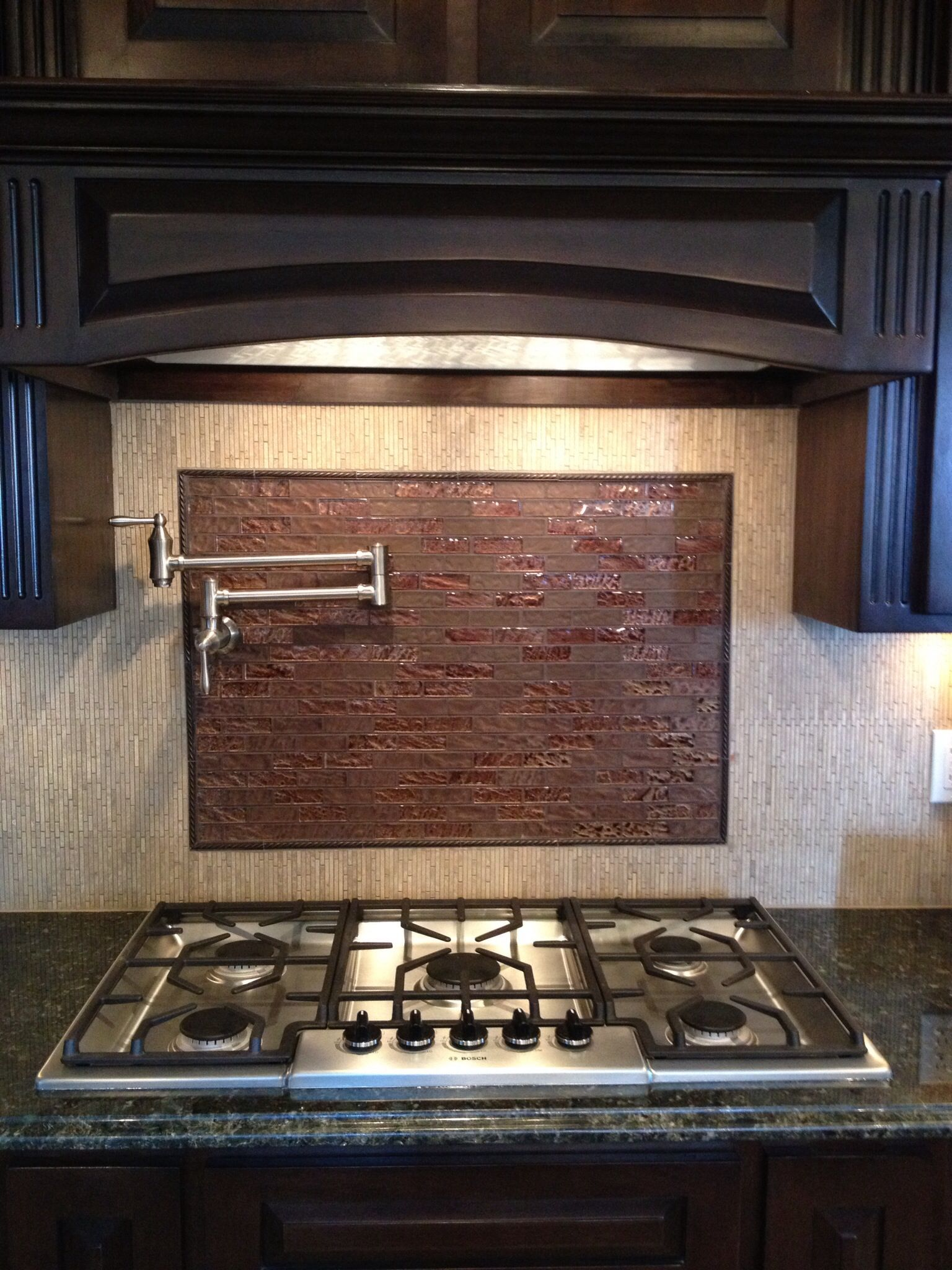 White Tile Backsplash Dark Cabinets