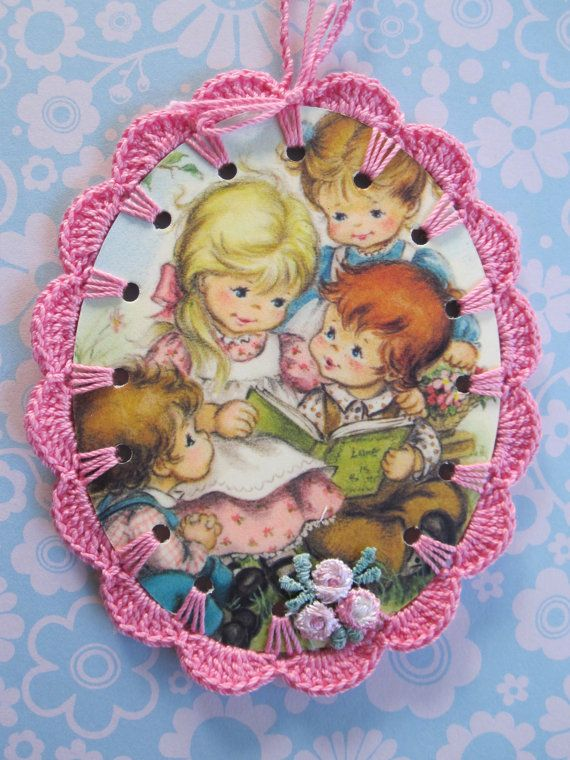 Recycled Vintage Illustration  Cute Family  Crochet by ShoeFlower