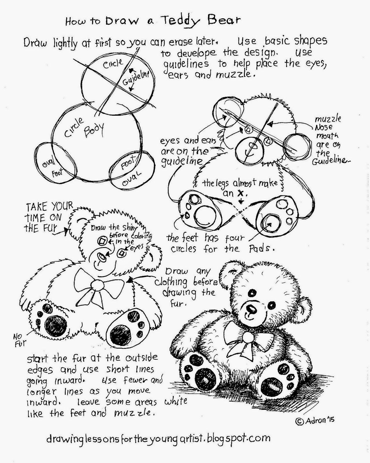 How To Draw A Teddy Bear Free Printable Worksheet