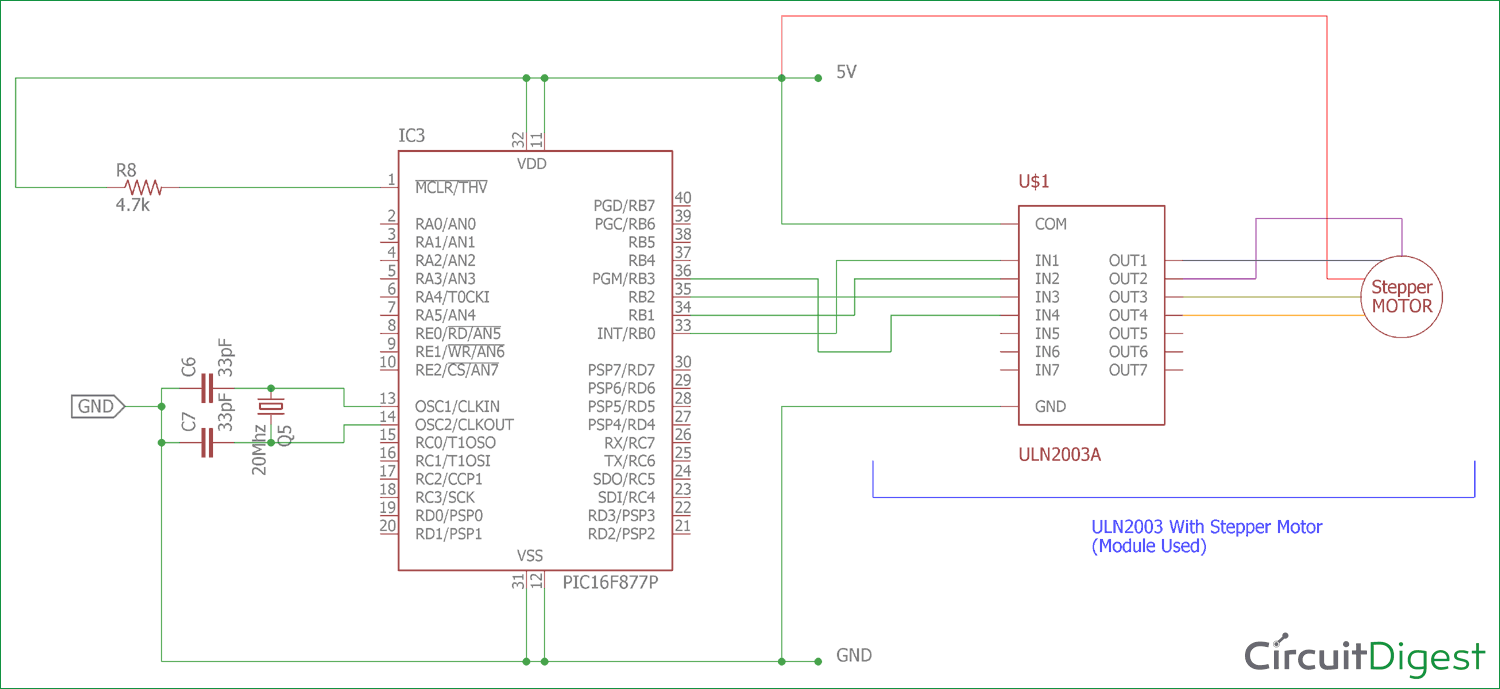 interfacing circuit diagram of stepper motor with pic micro