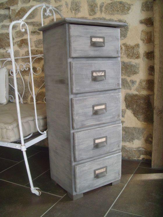 meubles 5 tiroirs un chiffonnier relooké peinture flanelle et brun