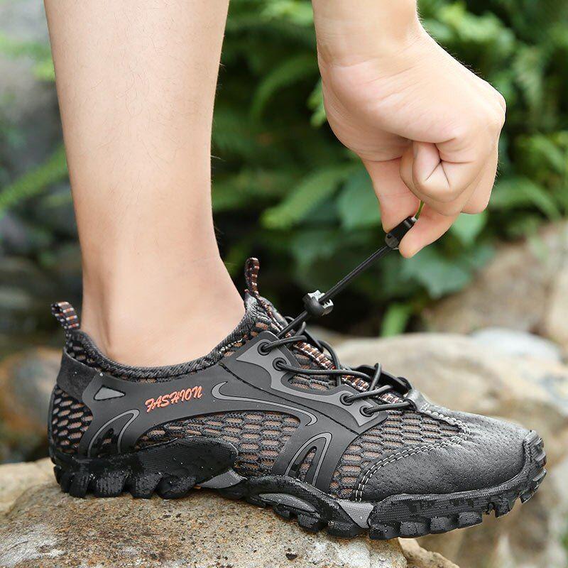 Sport shoes men, Hiking fashion, Mesh shoes