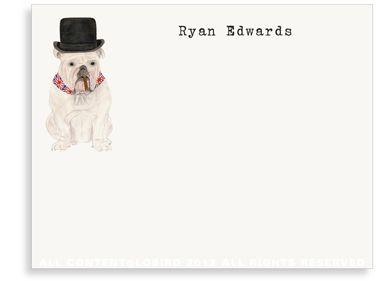 Original Churchill English bulldog illustration ©Lobir note cards and stationery  Lobird.com