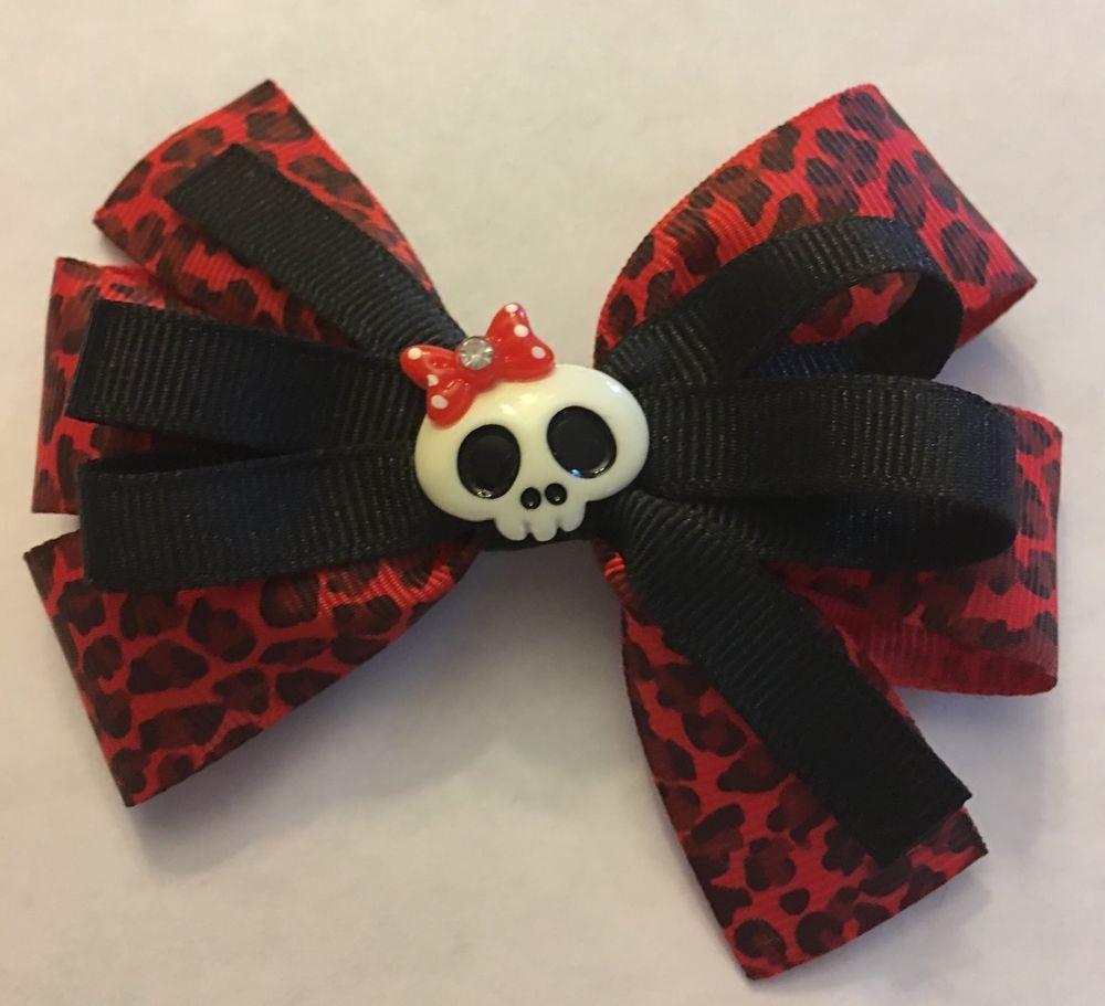 9ff1159d2 Handmade Handmade Red and Black Leopard Skull Inspired Girls Hair Bow |  Clothing, Shoes & Accessories, Kids' Clothing, Shoes & Accs, Girls'  Accessories ...