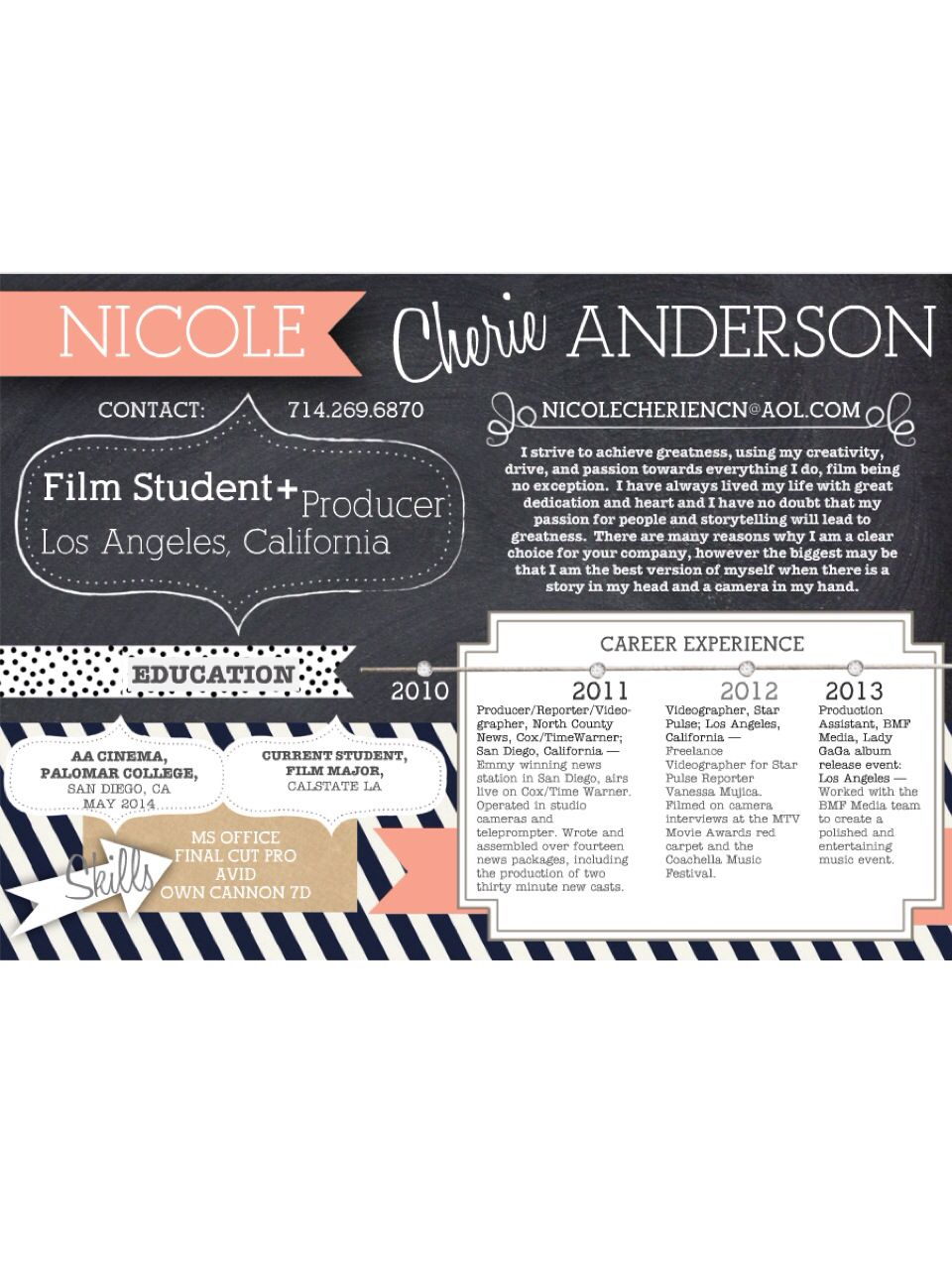 Creative Resume Film Production Film Student Creative Mind