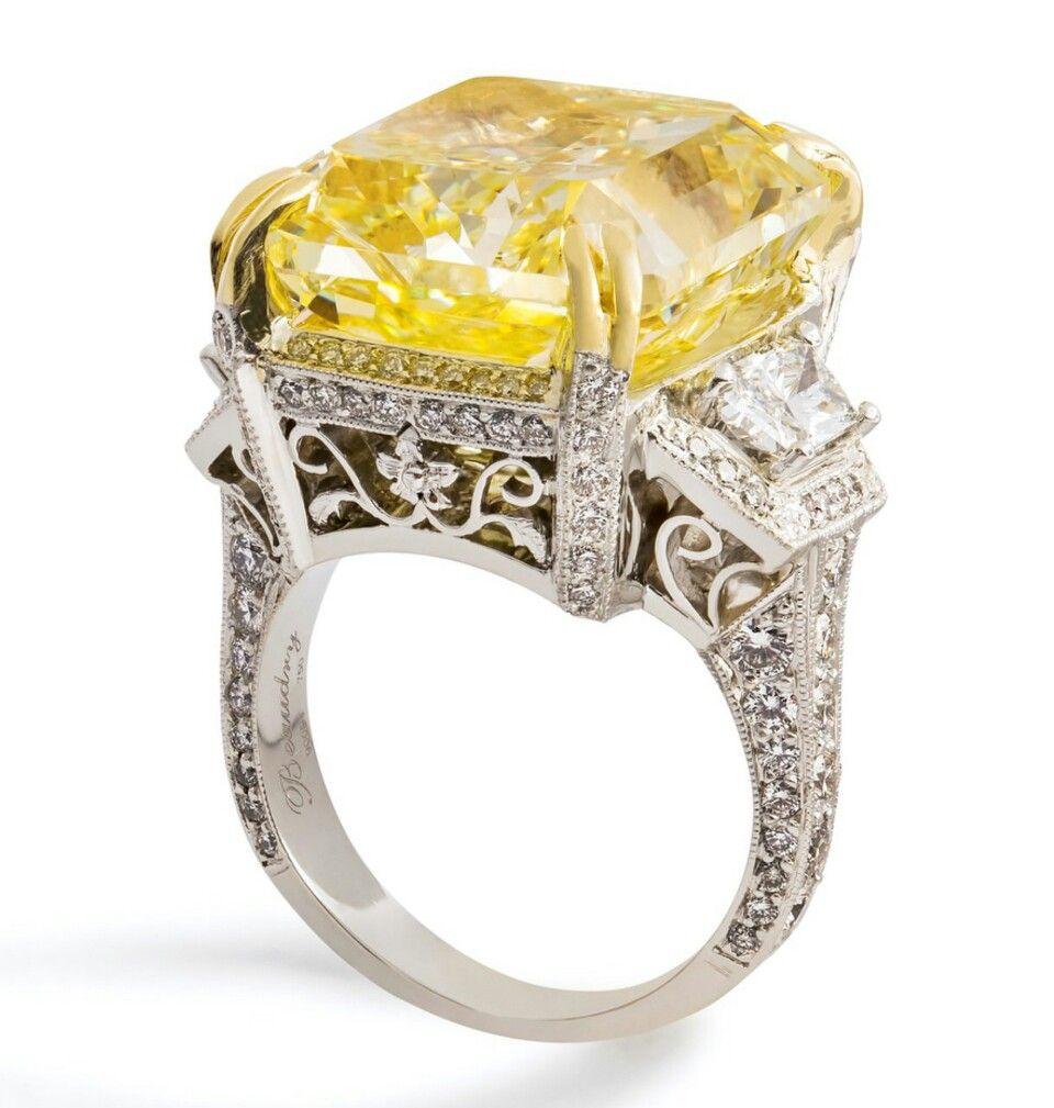 Ring In Platinum With A Square Antique Modified Brilliant Yellow Diamond Yellow Diamond Engagement Ring Yellow Diamonds Engagement Yellow Diamond