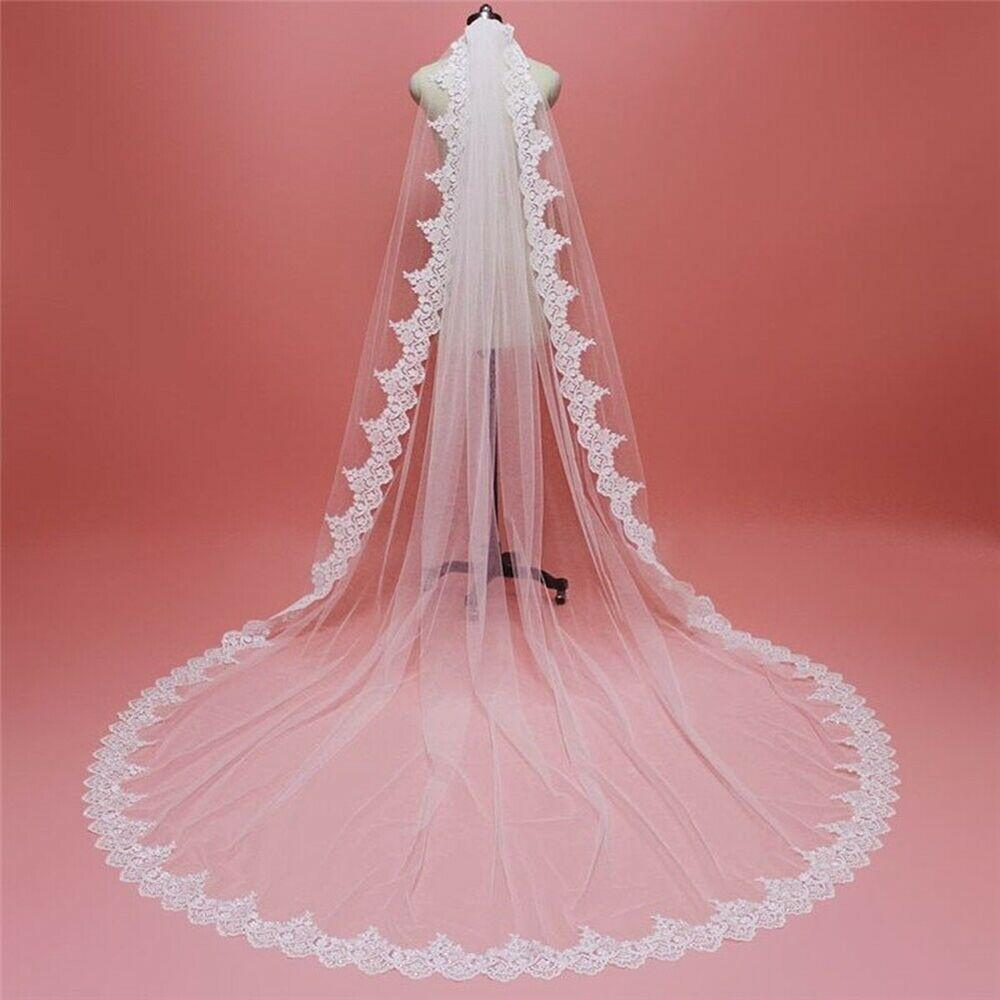 comb Rhinestones Lace Sequins Applique Wedding Veils 3M Cathedral Bridal Veil