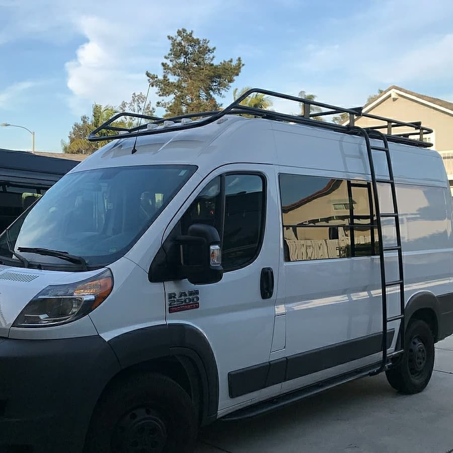 The Promaster Game Was Strong This Week Lots Of Aluminess Gear Installed On These Awesome Rigs Expedition Vehicle Roof Rack Van