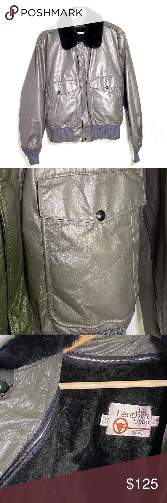 Real Leather Vintage Men's Bomber Jacket Vintage men