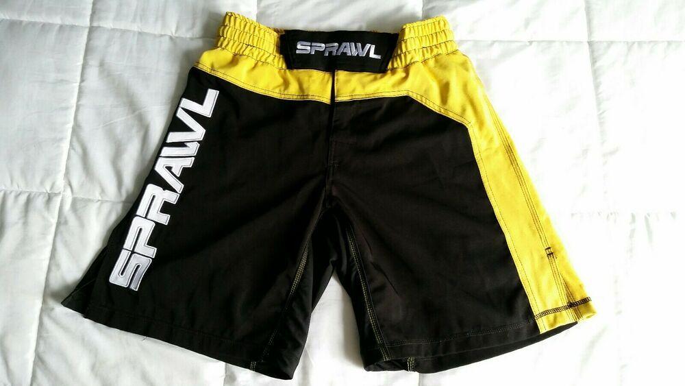 Sponsored Ebay Sprawl Mma Boxing Martial Arts Kickboxing Shorts Black Yellow Mens Size 34 Rare Mma Boxing Kickboxing Martial Arts Shorts