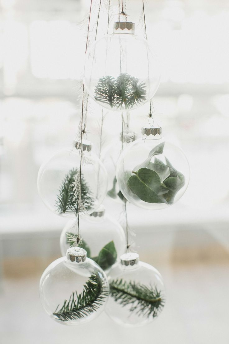 Photo of Minimalist Christmas ornaments with eucalyptus and spruce branches. Easy DIY, ju…