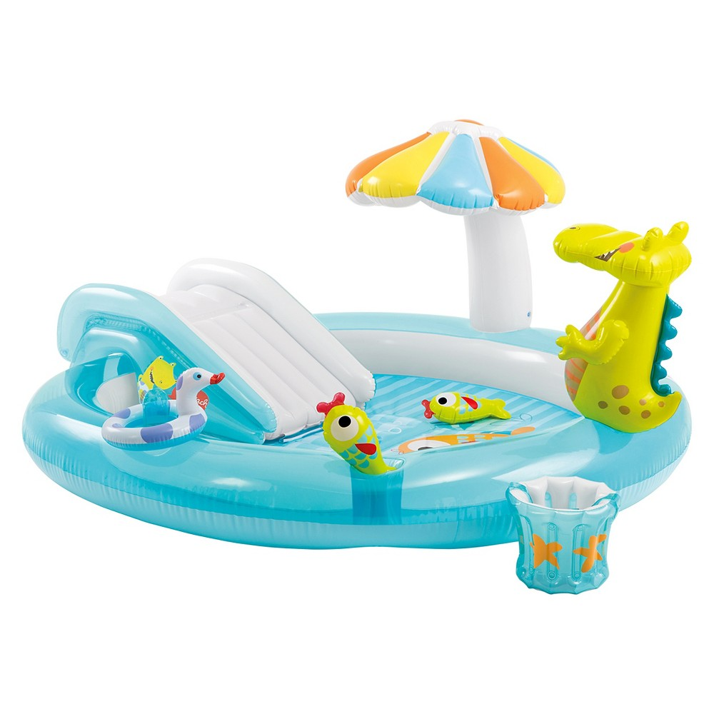 Intex inflatable gator play center camping for Piscine bebe champignon