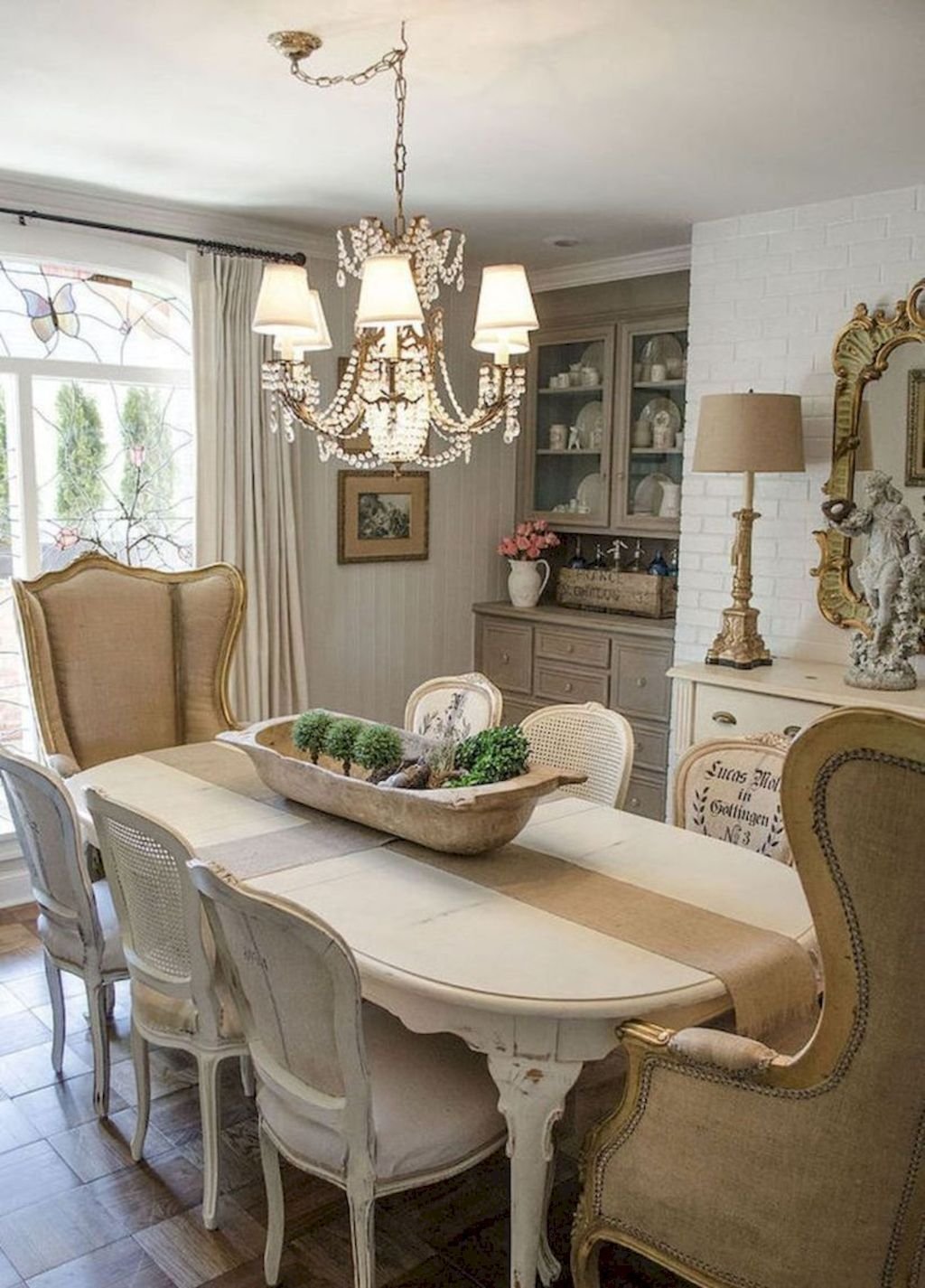 French dining rooms mirrors in dining room white