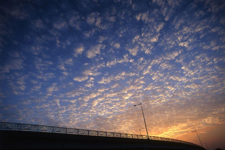 A Sunset over Marina Bridge, Fukuoka City, Japan.