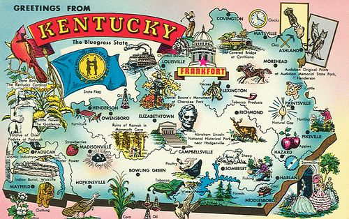 Greetings From Kentucky With Tourist Attractions Kentucky State