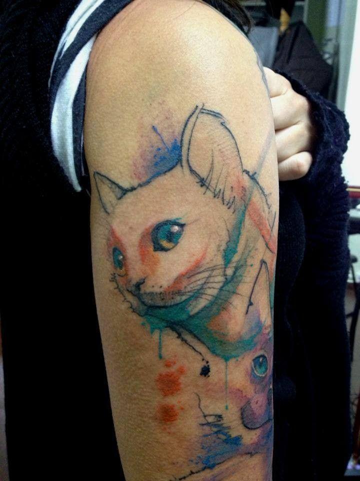 Tattoo watercolor cat pesquisa google tatoo for Watercolor cat tattoo