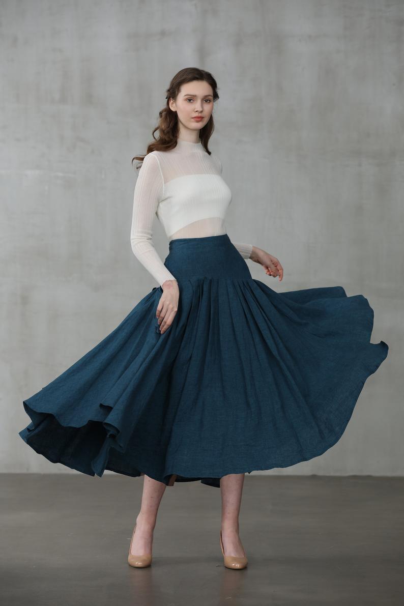 heavy linen skirt, peacock blue skirt, heavy linen skirt, flared skirt, midi skirt, full skirt, pleated skirt, winter skirt   Linennaive