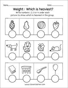 Heavy And Light Worksheets For Kindergarten