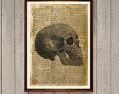 Dictionary print Human skull decor Anatomy poster WA782
