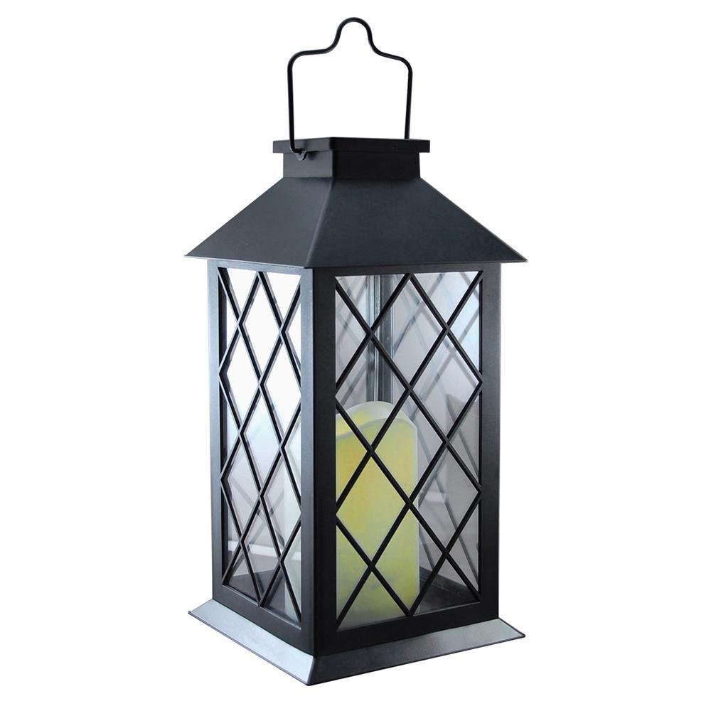 Lumabase Solar 5 5 In X 11 In Tudor Black Lantern 94001 With Images Solar Powered Lanterns Solar Lanterns Metal Lanterns