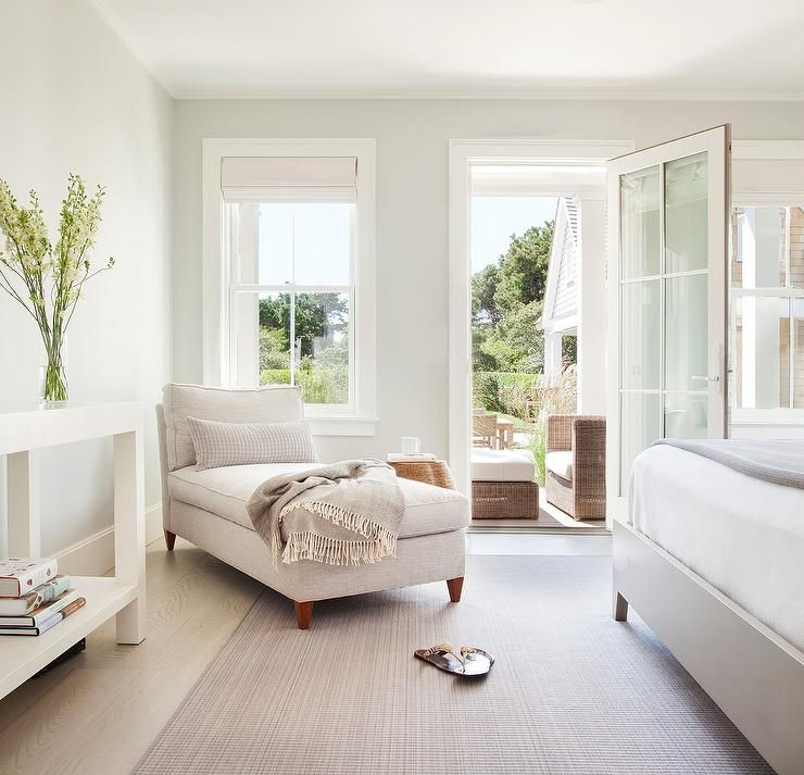 Restful Master Bedroom Boasts An Oatmeal Linen Armless