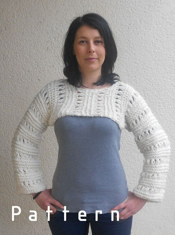 Knitting Pattern for the White cropped sweater shrug /Stoney ...