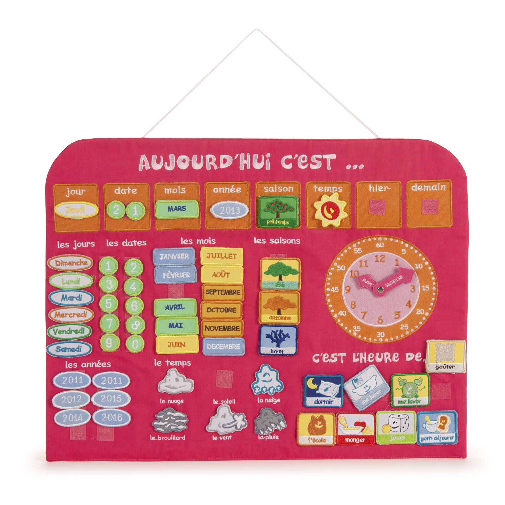 calendrier horloge d 39 apprentissage en tissu rose horloge jouets ducatifs les jeux et. Black Bedroom Furniture Sets. Home Design Ideas